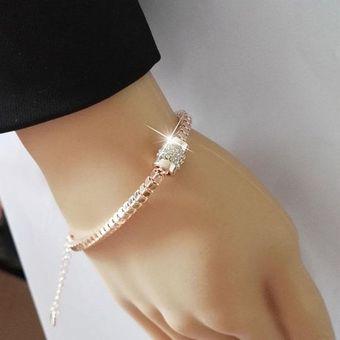 653f1668c09c Pulseras Oro Rosa Plateado Rhinestones Serpiente Cadena Encanto Joyas De  Moda Para Mujer