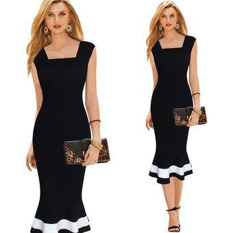 Compra Vestido Casual Para Damas Falda Cola De Pescado-NEGRO online ... a87431b1e2ae