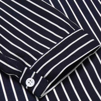 433f930b2f Blusa De Oficina V-Cuello Profondo Casual Rayas Camisa Modern Casa Para  Mujer-Azul