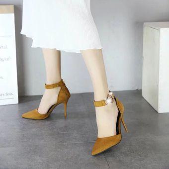 Zapatos De Tacón Alto De Tacón Fino De Botón Metálico De Elegante -Amarillo bd962cdaf7ea