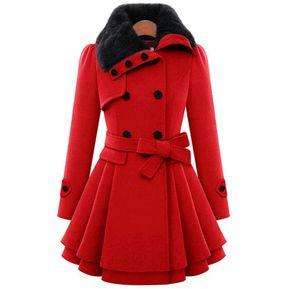 8284ee12b945d Abrigos de invierno de las mujeres Abrigo de lana caliente de las señoras