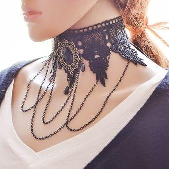 e65dcb1ecd06 Collar De Collar Gótico De Encaje De Moda De Joyería De Piedras Preciosas