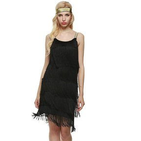 f27fa8a7b3003 Vestido Borlas De Moda Fiesta Para Mujer - Negro