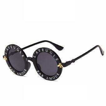 02f518a975 Bastidor Redondo gafas de sol Mujeres Hombres Español letras impresas PC  gafas Negro y gris