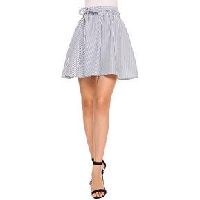 Falda Vestido Raya Hasta La Rodilla Yucheer Para Mujer Azul Y Blanco 28a0e4182e4f