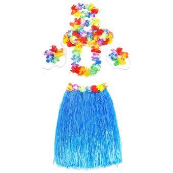 2a1eaa63a 6 Pcs Falda Hawaiana San Kara Vestido De Hierba Corto Muñequera Disfraz  Falda Con Flores Decoración Para Fiestas Color Azul