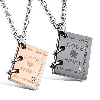 5ae9936aaa33 Compra Collar De Acero Inoxidable Amor Historia Libro Colgante Para ...