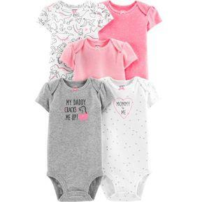 6b026ab535 Set De 5 Bodys Carters Para Bebé Niña