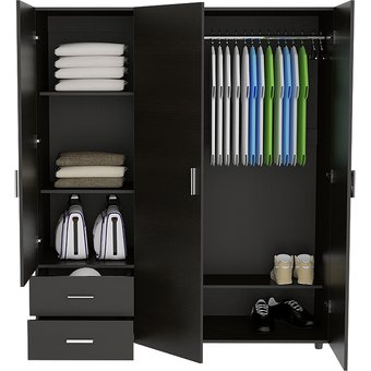 Closet 3 puertas negro 160cm x 140cm rta design linio colombia for Cocinas integrales armables