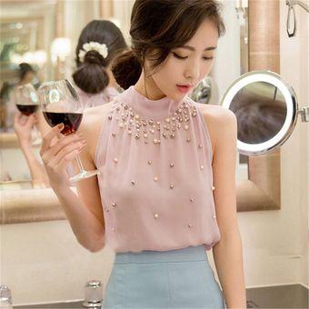 Top Blusa Camisa De Gasa Moda Coreana Cuello Alto Manga Larga Elegante  Delgado Cuello Colgante Cuello 075b9fcd671b