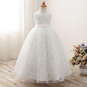 84acca730 Boda Vestidos De Princesas Para Niñas Largos Sin Manga-blanco