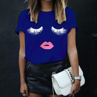 Camiseta Para Mujer De Talla Grande A La Moda Con Estampado De Pestanas Estilo Veraniego Camiseta Con Labios Rojos Camiseta Femenina Barata Yff6220 Azul Fuc Linio Peru Un055fa0qnts5lpe