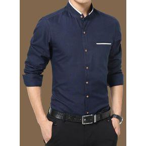 Camisas Hombre De Manga Larga De Negocios De Cuello De Pie De No Plancha  -Azul 4d2d11f1d6d38