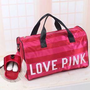 c0d26e3fe5619 Bolsa Con Asa Con Estampados Love Pink De Mano Para Mujer - Rosa
