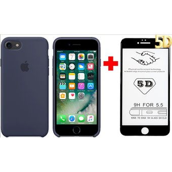 2f1babd38b4 Apple Funda Silicone Case + Vidrio Templado 5D iPhone 6/6s - Azul Oscuro