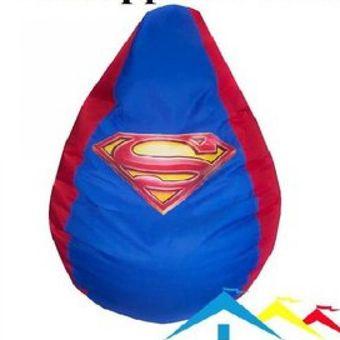 Sillones Puff Para Ninos.Sillon Puff Personalizado Super Man Comodo Para Ninos Tipo Puff Pera Kids Rojo Y Azul