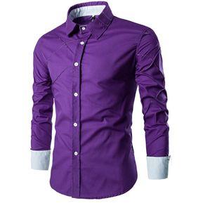Adelgazante Comprobado Patrón Largo Manga Camisa Para Hombres (Púrpura) 59acca0c1c5