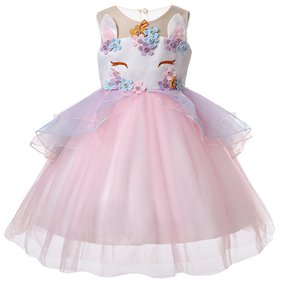 52754e72e Vestido de encaje unicornio Navidad vestidos - Rosa