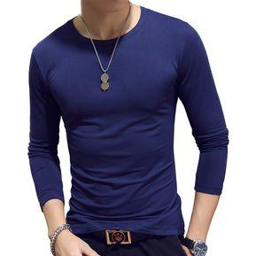 e261127684 Camiseta de hombre Camiseta de manga larga color sólido con cuello redondo