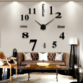 EW Sala Grande Arte Diseño 3D DIY EVA Colgante Reloj De Pared Espejo  Decoración ecb81ed3b423