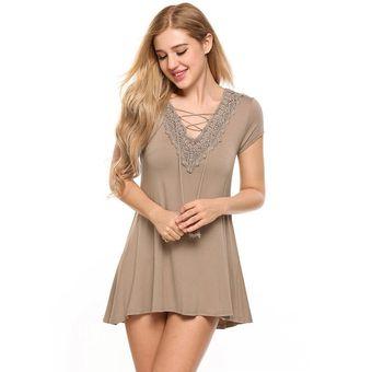 3763d88d2e4 Vestido De Camiseta De Encaje Con Manga Corta Escote De Pico Para Mujer -Albaricoquero
