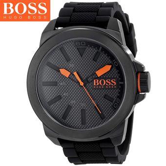 73f42efcbd51 Agotado Reloj Hugo Boss 1513004 New York Acero Inox Correa De Silicona -  Negro Naranja