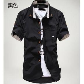 773271df9 Camisa De Manga Corta Para Hombre Bolsillo De Seta Casual Camisas Hombres