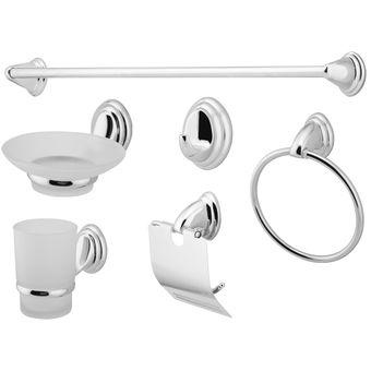 Compra Set accesorios baño 6 piezas Taumm Economic gris online ... cee5f0c01502