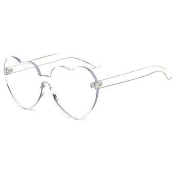 4274922bdc Forma De Corazon Rimless UV400 Gafas De Sol Para Las Mujeres (transparente)