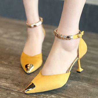 Mujer Tacón Especial Decoración Amarillo Zapatos Y Con WH2DIE9