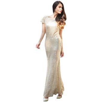 b90a70890a10 Vestido de Noche Generic Dama de honor Lentejuelas Vestidos de noche de las  mujeres Beige