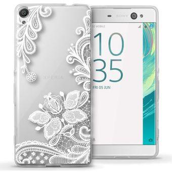 81e2236005a Agotado Funda Para Celular Sony Xperia XA - Encaje Transparente Con Blanco