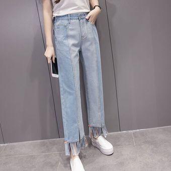 Mujeres Moda Otono Estilo Flojo Pierna Ancha Light Blue Denim Pantalones Pantalones Linio Mexico Ge598fa0jmbnblmx