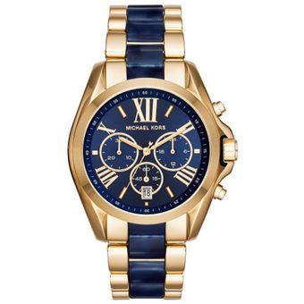 Compra Reloj Michael Kors Mk6268 Bradshaw Blue Cron 243 Grafo