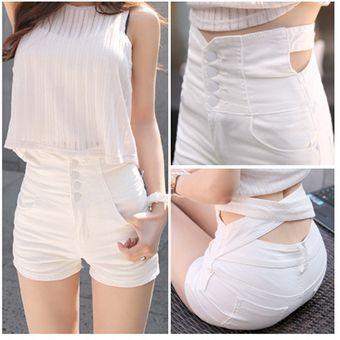 nuevo estilo 5d5a6 bb196 Cintura Alta Pantalones Cortos Shorts Vaquero Talle Alto Shorts De  Mezclilla Para Mujer -Blanco