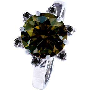 4672e9447000 Anillo de Compromiso Diamantes Verde Marron y Diamante Negro Natural 2.08  Ct Sic81 Oro Blanco
