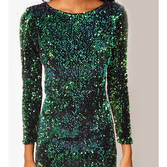 7edd99d7 Vestido de Coctel E-Thinker con lentejuelas y manga larga para mujer - Verde