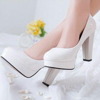 Para Tacones Altos Mujer Plataforma Blanco Impermeable tsChQrd