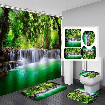 Brandless 3D Planta Verde Cascada ba/ño Cortina Paisaje Bosque ba/ño Cortina Impermeable Tela de poli/éster-180cmX180cm