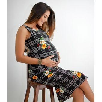 662b45a1c Vestido Materno Cómoda y Moderna 9 Meses - Blanco Estampado negro