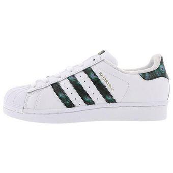 tenis adidas blancos con verde