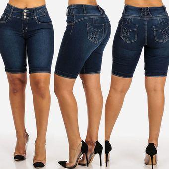 Pantalones Cortos Sexis De Moda Para Mujer Pantalones Cortos Ajustados De Tela Vaquera Para Mujer Cenido Traje Elastico De Cintura Alta Pantalones Cortos Ajustados Hasta La Rodilla Pantalones Cortos Elasticos Black Linio