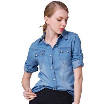 812ce10ea Moda mujer denim camisa manga larga cuello camisa Jeans mujer bajar Jean camisas  para damas-