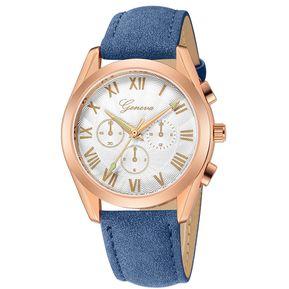 f2960c1c1504 GENEVA 666 Reloj de cuero moda para hombre Cafe