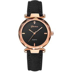be80aa327959 Geneva 607 reloj de pulsera de cuero para mujer Negro