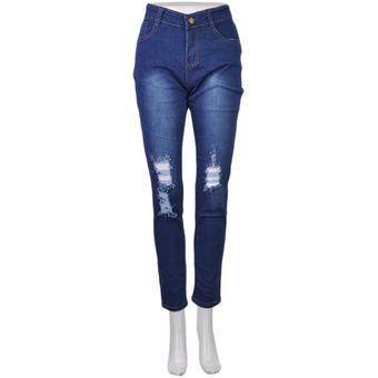 ER Alta Moda Mujer Skinny Jeans Elástica Rodilla Pantalones Lápiz Slim Rip  XL-Blue 18f735d2cae7