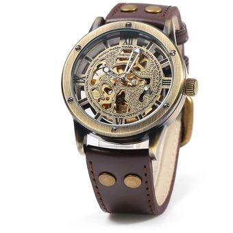 Del Pulsera Brown De Banda Reloj Shenhua Irregular Hueco Marcación A 14 Mecánico Automático Cgx Hombre Cabo Cuero nvN80ymwO