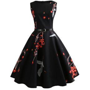 ddd5a5de1 Vestidos Mujer Cuello Redondo Sin Mangas Estampado Rosa Vestido Vintage