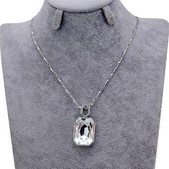 88333c50f0e9 Moda Doble Cara Cuadrada De Cristal Colgante Collar Bañado De Plateado  Collar