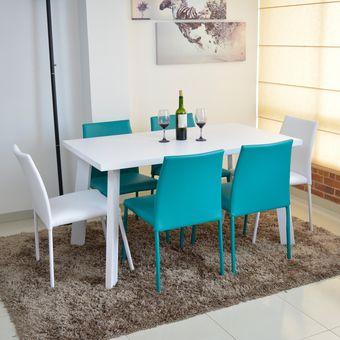 Compra comedor lugo 6 puestos blanco sillas 4 azul for Comedores 6 sillas baratos